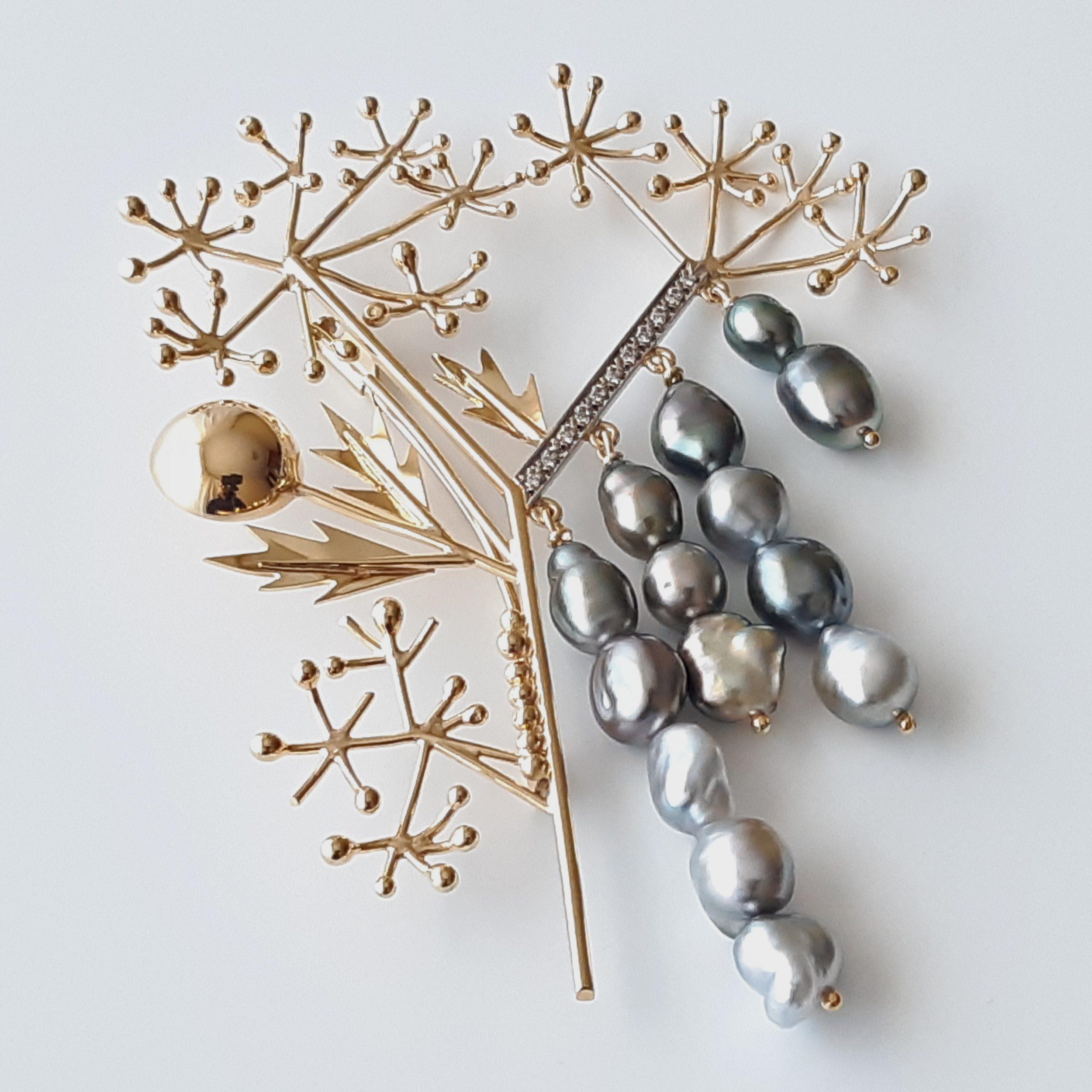 Broche perlas Keshi Tahití 440