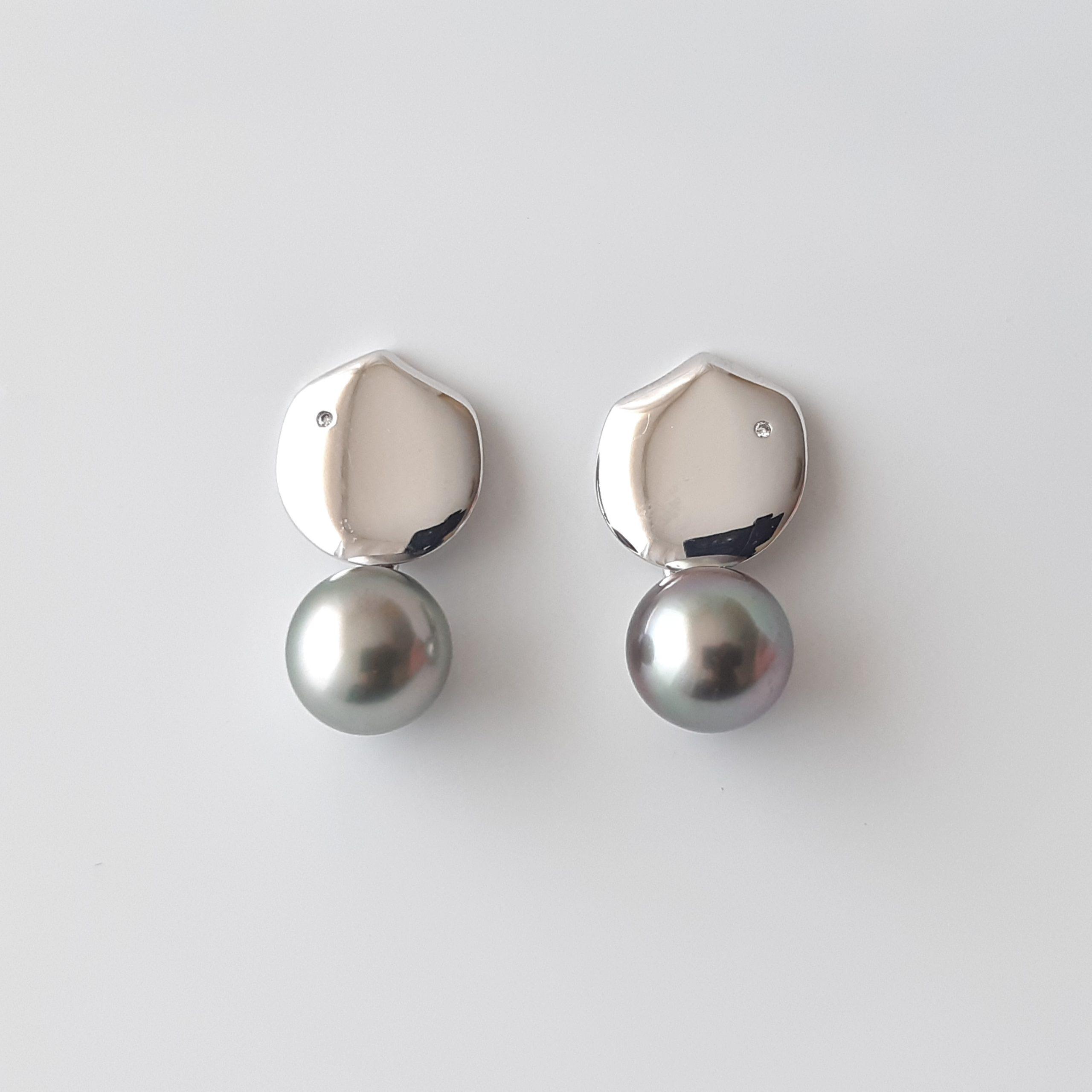 Pendientes perlas Tahití diamantes 208