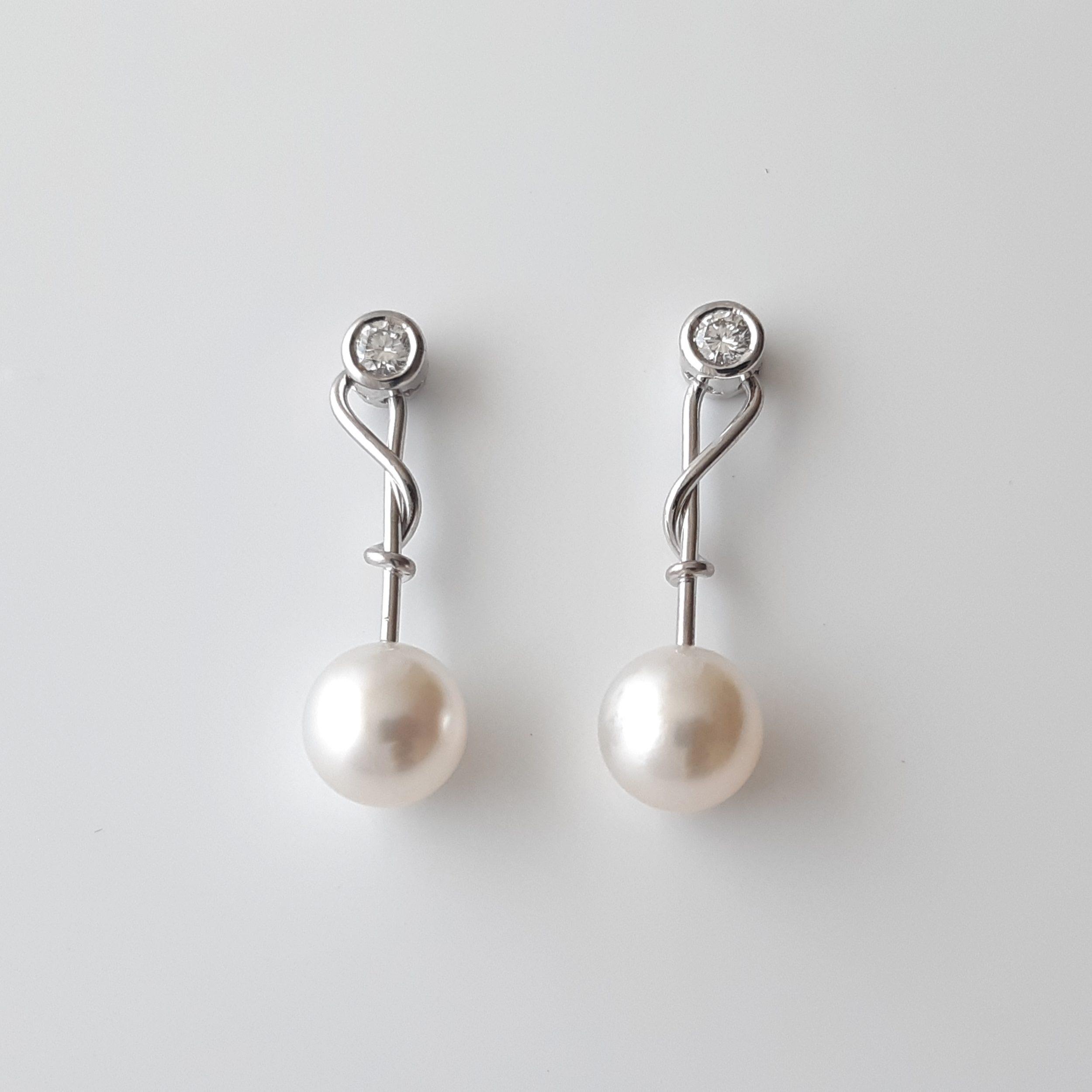 Pendientes perlas australianas diamantes 447