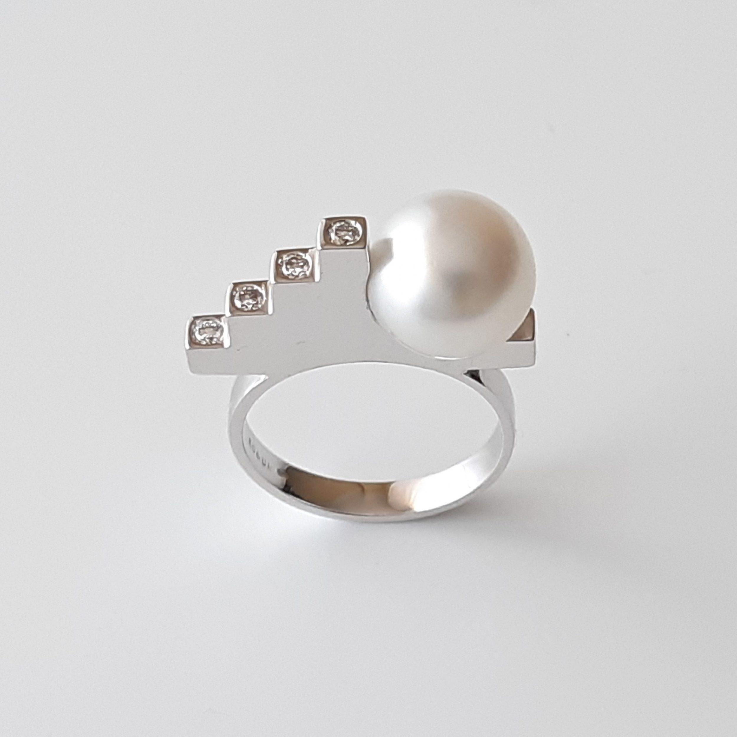 Sortija perla australiana y diamantes Burma 605