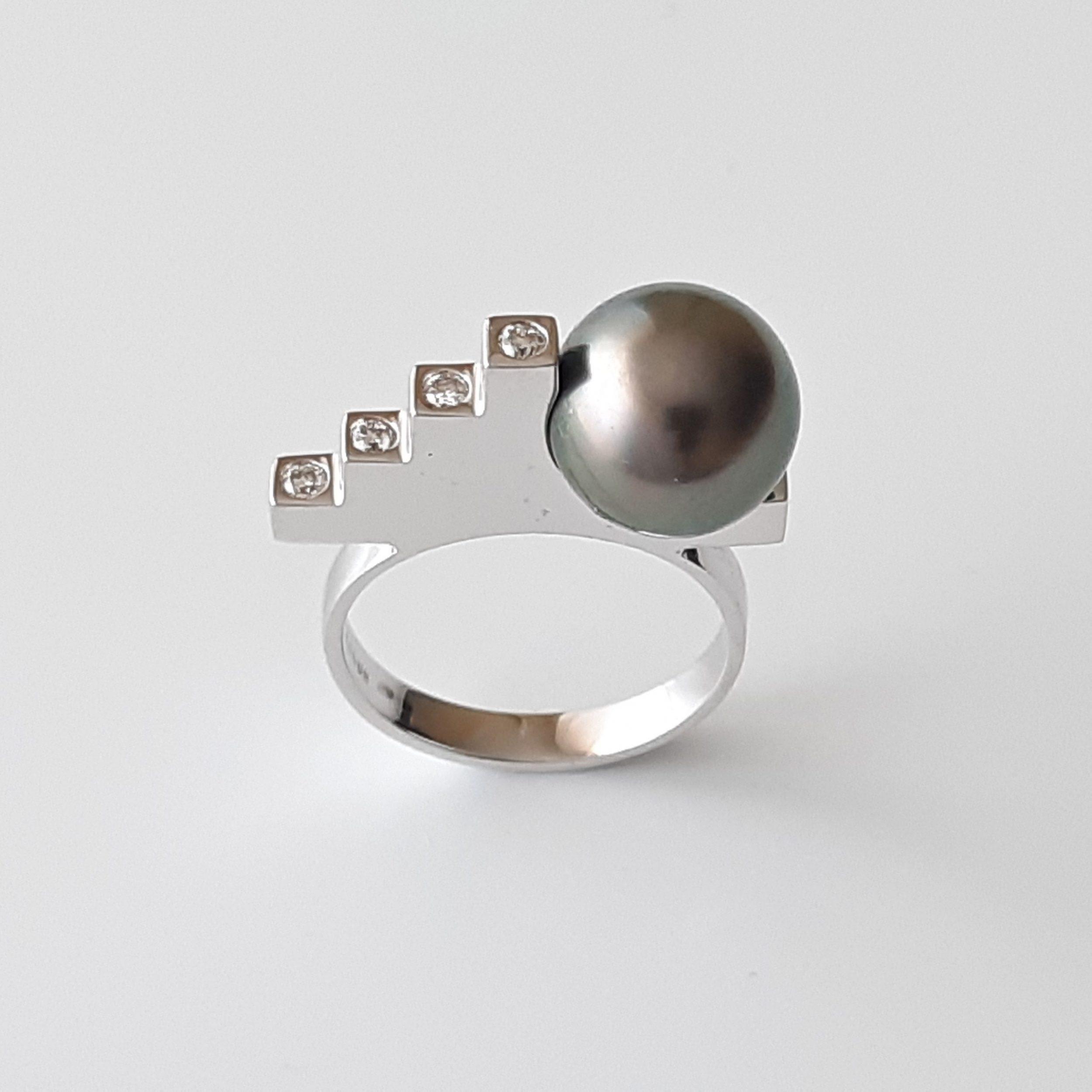 Sortija perla de Tahití y diamantes Narutea 604