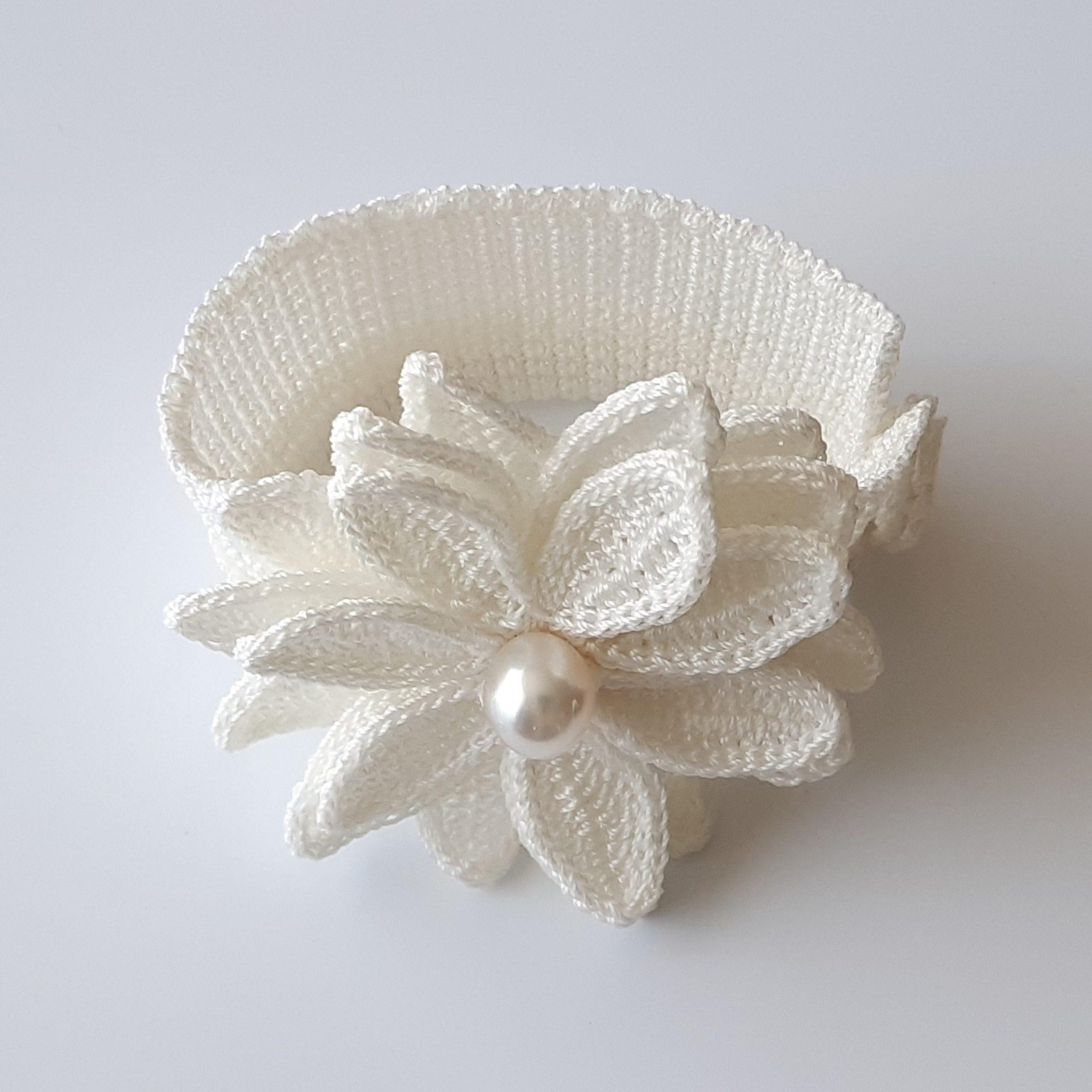 Brazalete de perla australiana y crochet (2)